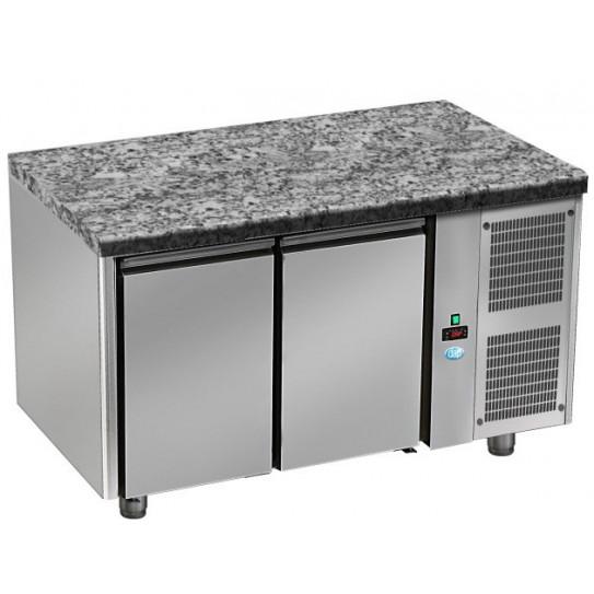 Tour pâtissier 600x400 réfrigéré dessus granit 2 portes 1600x800x850mm froid positif tropicalisé. TPG 2 P GL DAP