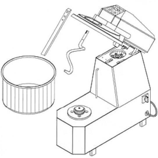 Schéma pétrin à spirale IGF série 2400 à tête relevable et cuve extractible et timer 2400/S38