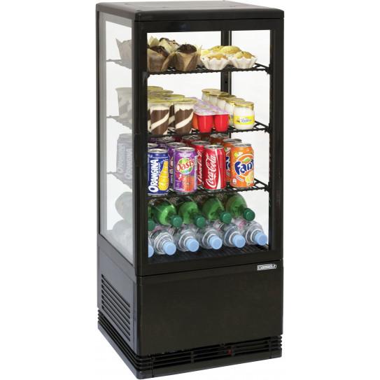 Mini vitrine réfrigérée positive 78 litres ventilée 4 faces vitrées couleur noire - CVR78LN Casselin