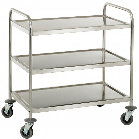 chariot de service inox sur roulettes 3 plateaux cci3. Black Bedroom Furniture Sets. Home Design Ideas