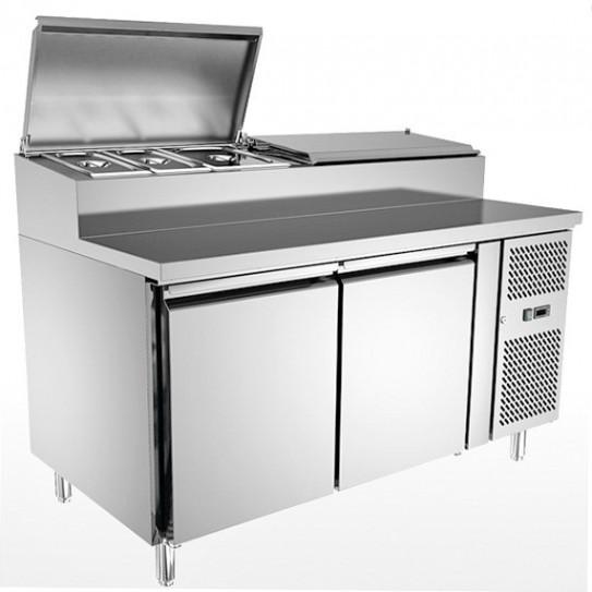 Table Pizza Chef préparation pizza 2 portes L1510mm x P800mm pour 6 bacs GN1/3 - SH2000/800
