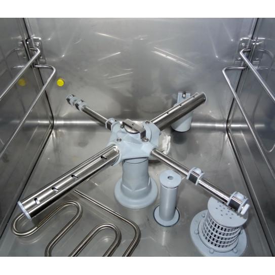 Lave-verres panier 35x35 détail cuve et 4 bras tubes inox diffuseurs de lavages  X-35D + Adoucisseur Sammic