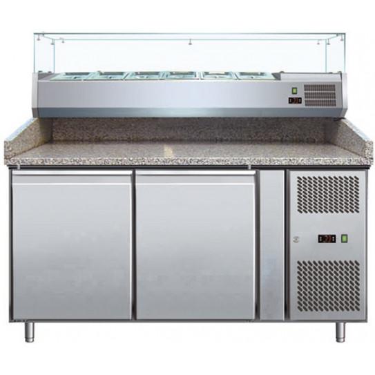 Meuble Pizza Chef 2 portes dessus granit + Vitrine ingrédients réfrigérée - PZ2600TN-VRX380
