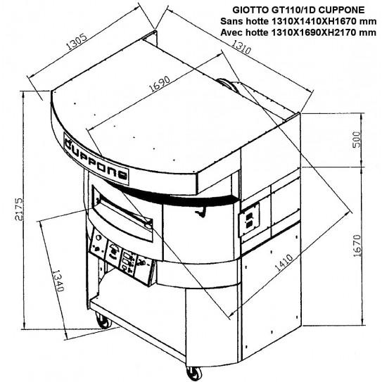 Four pizza GIOTTO CUPPONE GT110/1D shéma dimensions extérieures