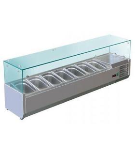 Vitrine à ingrédients réfrigérée avec pare-haleine prévue pour bacs 7xGN1/3 - VRX1600/380