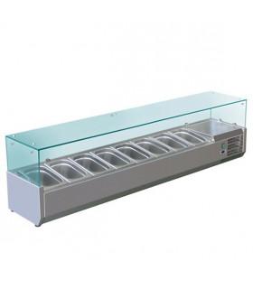 Vitrine à ingrédients réfrigérée avec pare-haleine prévue pour bacs 8xGN1/3 - VRX1800/380