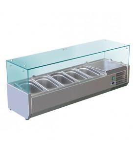 Vitrine à ingrédients réfrigérée 1,4 m avec pare-haleine prévue pour bacs 5xGN1/3 - VRX1400/380
