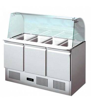 Saladette réfrigérée 3 portes avec pare-haleine en verre + plan de découpe - S903CG