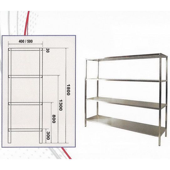 Etagère de sol inox AISI 404 4 niveaux L 1000 à 2000 mm x P 400 x H 1800mm - EDSL Bertrand