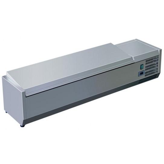 Vitrine à ingrédients réfrigérée avec couvercle prévue pour bacs 5xGN1/3 - C-VRX1400/380