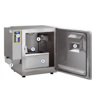 1 Clavier commande – 2 Porte de chargement – 3 Trémie déchargement – 4 Système recyclage air – 5 Panier - 6 Bassin huile - KL3