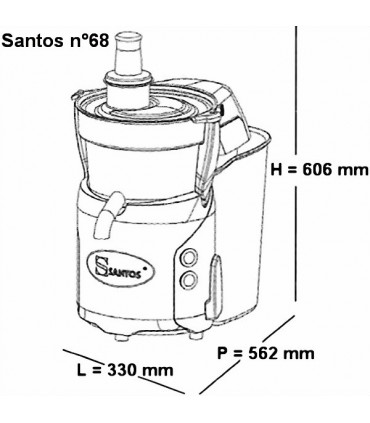 Dimensions encombrement Centrifugeuse n°68 SANTOS Miracle Edition + Ezy-clean™ II