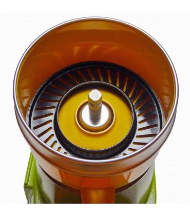 DÉTAIL PRESSE-AGRUMES SANTOS N°11. VUE : Axe acier à embout carré, Cuve à jus jaune 11204 NJ, Grille filtre