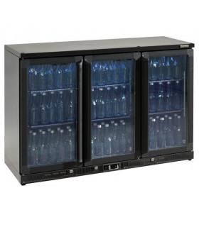 Vitrine de présentation boissons 3 portes vitrées en skin-plate anthracite. Dim ext L1350 x P514 x H900mm - MG1/315G Gamko