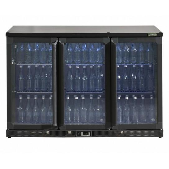 Desserte réfrigérée boissons 3 portes vitrées en skin-plate anthracite. Dim ext L1350 x P514 x H900mm - MG1/315G Gamko