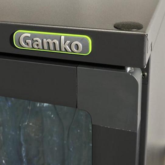 Détail porte vitrée, vitrine de présentation boissons 3 portes vitrées en skin-plate anthracite - MG1/315G Gamko