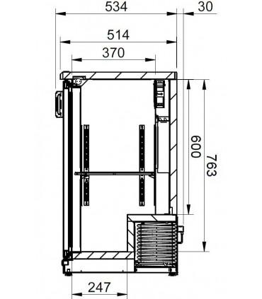 Vue coupe dimensions vitrine de présentation boissons MG Gamko - MG1/315G Gamko