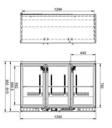 Vue shéma dimensions vitrine de présentation boissons MG Gamko - MG1/315G Gamko