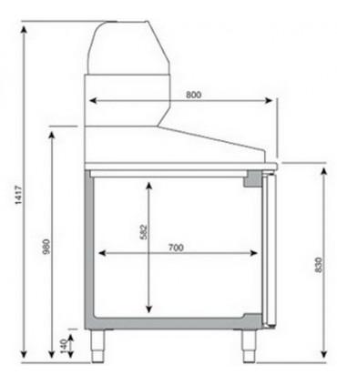 Dimension meuble pizza Infrico série 800 + vitrine ingrédients