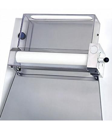 Détail module haut façonneuse pizza rouleaux parallèles Ø sortie 40 cm IGF 2300 / B40P GEMMA renforcée coque blanche