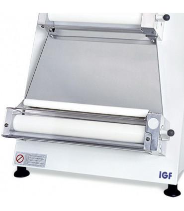 Détail module bas façonneuse pizza rouleaux parallèles Ø sortie 40 cm IGF 2300 / B40P GEMMA renforcée coque blanche