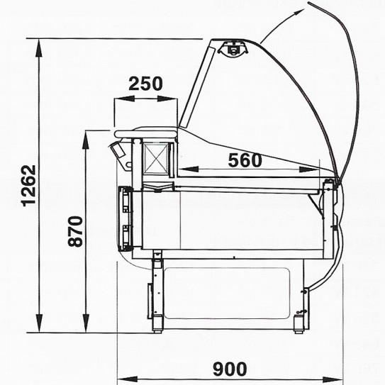 Vitrine réfrigérée de comptoir URBAN dimensions en coupe - ISOTECH VC