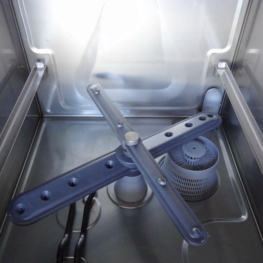 Lave-verres panier 35x35 MBM LB355 détail cuve et bras diffuseurs de lavage