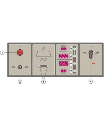 1 Arrêt d'urgence - 2 Sélection sens rotation - 3 Commande hotte en option - 4 Joystick vitesse sole