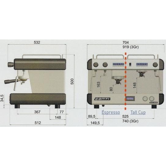 Dimensions machine à café CONTI CC100