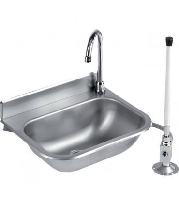 Lave-mains inox à commande fémorale + mitigeur eau chaude/froide