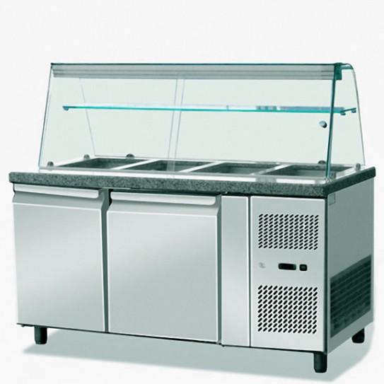 Saladette réfrigérée 2 portes dessus granit avec pare-haleine espace 4 x GN1/1 - THSAI158 Skyrainbow