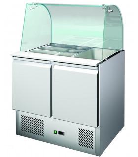 Saladette réfrigérée 2 portes avec pare-haleine en verre + plan de découpe - S900CG