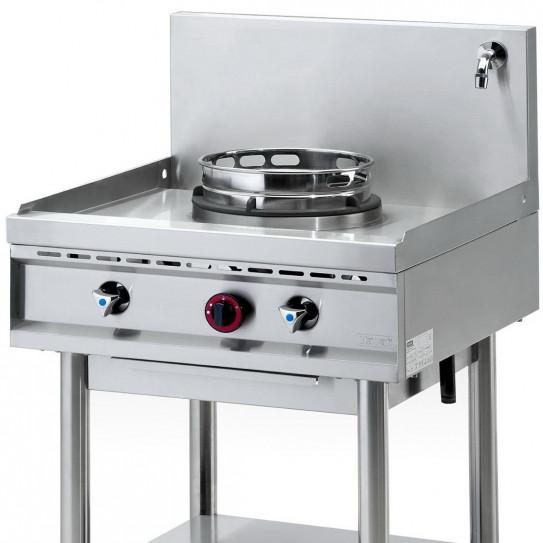 Détail wok 1 brûleur gaz 13 kW sur pietement NGER 7-70 Nayati