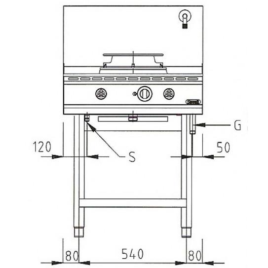 Dimension face Wok 1 brûleur gaz 13 kW - NGER 7-70 Nayati