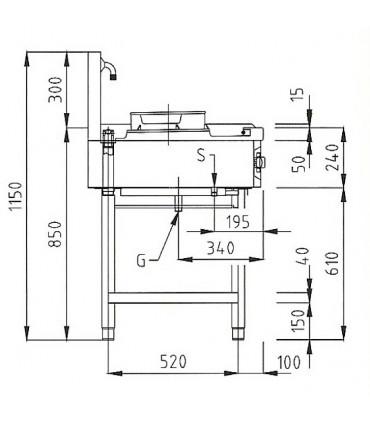 Dimension latérale Wok 1 brûleur gaz 13 kW sur pietement NGER 7-70 Nayati