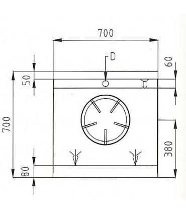 Dimension dessus Wok 1 brûleur gaz 13 kW - NGER 7-70 Nayati