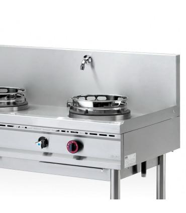Détail wok 2 brûleurs gaz 13 kW sur pietement NGER 13-70 Nayati