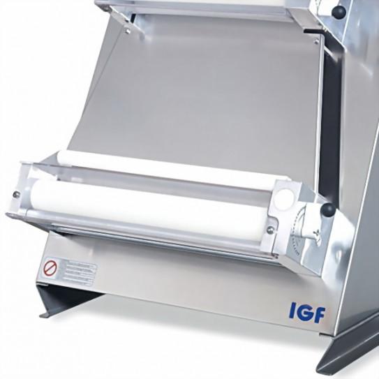 Détail module bas façonneuse pizza rouleaux parallèles Ø sortie 40 cm IGF 2300 / L40P GEMMA INOX renforcée