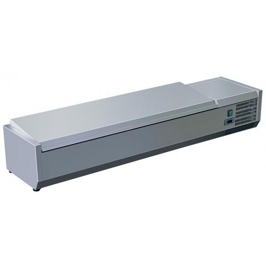 Vitrine à ingrédients réfrigérée 2 m avec couvercle prévue pour bacs 9xGN1/3 - C-VRX2000/380