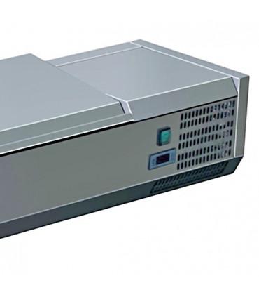 Vitrine à ingrédients réfrigérée 2 m avec couvercle inox détail C-VRX2000/380