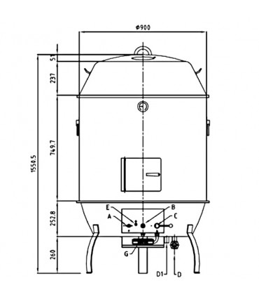 Dimensions rôtissoire gaz pour canard NGDR 900 Nayati