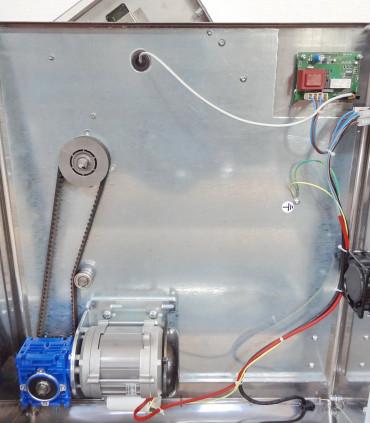 Vu mécanisme courroie crantée motoreducteur façonneuse Pizza Prismafood DSA TG 420 NEW