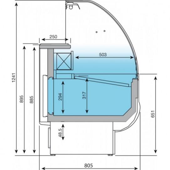 Vitrine de présentation réfrigérée 2 mètres