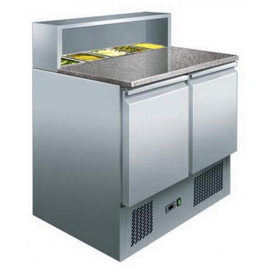 Table meuble préparation pizza et sandwich granit et espace bacs gastro 7450.0070