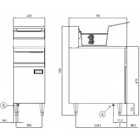 Dimensions Friteuse Gaz 23L. 21 kW Nayati GFE40RS
