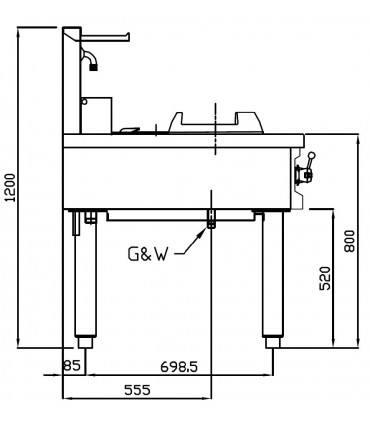 Dimension Wok 3 brûleurs NGWR 16-90 Nayati vue de coté