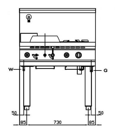 Dimension Wok 2 brûleurs NGWR 9-90 Nayati vue de face