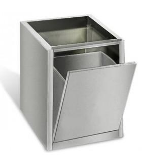 Poubelle inox à porte basculante encastrable sous table prof 600 THMER46