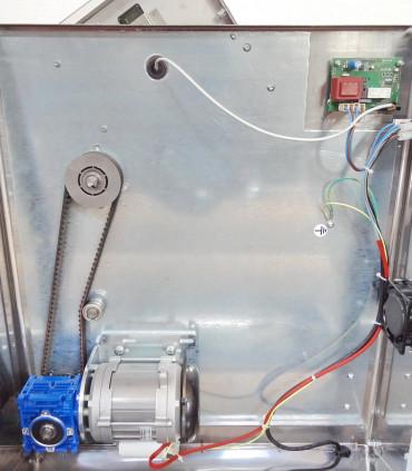 Détail mécanisme courroie crantée motoreducteur laminoir Pizza Prismafood DSA 420 NEW