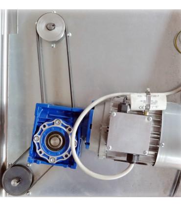 Détail Poulies 3P010001 et Courroies et Motoreducteur démultiplicateur de couple en bleu façonneuse pizza DSA420 JILO42